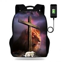 Рюкзак. Крест, агнец и лев