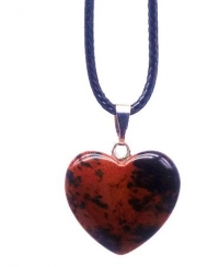 Кулон в виде сердца из природного камня. Обсидиан махагоновый