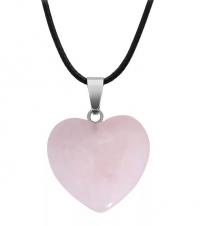 Кулон в виде сердца из природного камня. Розовый кварц
