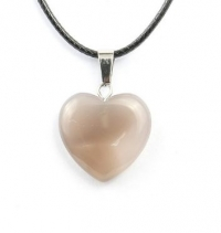Кулон в виде сердца из природного камня. Серый агат