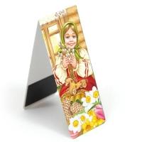 Магнитная закладка для книг. Христос Воскрес (девочка с деревянной лошадкой)