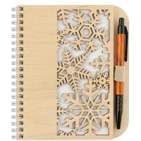 Деревянный блокнот с ручкой. Снежинки
