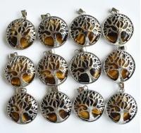 Кулон в виде древа жизни с натуральным камнем. Тигровый глаз
