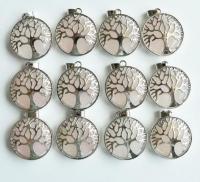 Кулон в виде древа жизни с натуральным камнем. Розовый кварц