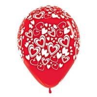 Воздушный шар латексный. Кокетливые сердечки (красный)