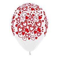 Воздушный шар латексный. Кокетливые сердечки (белый)