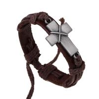Браслет кожаный с крестом